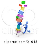 Clipart Illustration Of A Blue Person On A Shopping Spree Pushing A Cart Stacked High With Boxes
