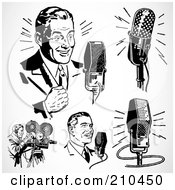 Royalty Free RF Clipart Illustration Of A Digital Collage Of Retro Black And White Radio And Tv Men