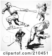 Digital Collage Of Retro Black And White Hockey And Baseball Players
