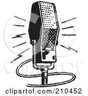 Royalty Free RF Clipart Illustration Of A Retro Black And White Microphone by BestVector #COLLC210452-0144
