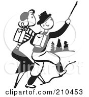 Royalty Free RF Clipart Illustration Of A Retro Black And White Couple Hiking Outdoors by BestVector