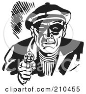 Royalty Free RF Clipart Illustration Of A Retro Black And White Criminal Pointing A Gun