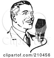 Royalty Free RF Clipart Illustration Of A Retro Black And White Man Talking Into A Microphone