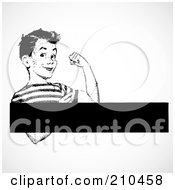 Royalty Free RF Clipart Illustration Of A Retro Black And White Strong Boy Flexing With A Text Box by BestVector
