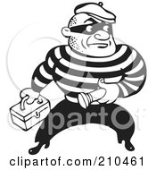 Royalty Free RF Clipart Illustration Of A Retro Black And White Criminal Carrying A Flashlight And Box