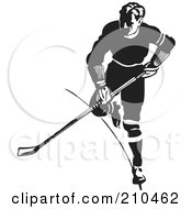Royalty Free RF Clipart Illustration Of A Retro Black And White Hockey Player Running