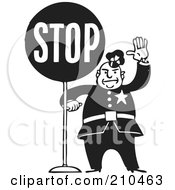 Royalty Free RF Clipart Illustration Of A Retro Black And White Policeman With A Stop Sign
