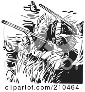 Royalty Free RF Clipart Illustration Of Retro Black And White Men Hunting Ducks by BestVector