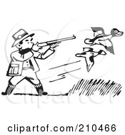 Royalty Free RF Clipart Illustration Of A Retro Black And White Man Shooting At Ducks by BestVector
