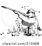 Royalty Free RF Clipart Illustration Of A Retro Black And White Man Wading And Shooting At Ducks by BestVector
