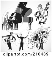 Royalty Free RF Clipart Illustration Of A Digital Collage Of Retro Black And White Bands And Musicians by BestVector