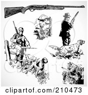Royalty Free RF Clipart Illustration Of A Digital Collage Of Hunters by BestVector