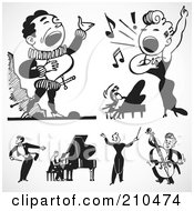 Royalty Free RF Clipart Illustration Of A Digital Collage Of Retro Black And White Singers And Musicians by BestVector