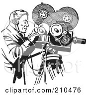 Royalty Free RF Clipart Illustration Of A Retro Black And White Camera Man Filming