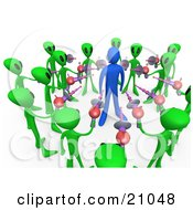 Clipart Illustration Of Green Aliens Surrounding A Blue Hostage Person And Pointing Laser Guns