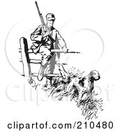 Royalty Free RF Clipart Illustration Of A Retro Black And White Hunting Dog Leading A Man Over A Fence by BestVector