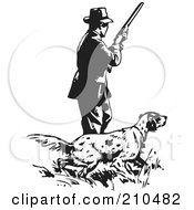 Royalty Free RF Clipart Illustration Of A Retro Black And White Man With A Hunting Dog by BestVector