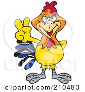Royalty Free RF Clipart Illustration Of A Peaceful Rooster Holding His Fingers Up by Dennis Holmes Designs