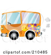 Royalty Free RF Clipart Illustration Of An Orange Floral Hippie Bus Van