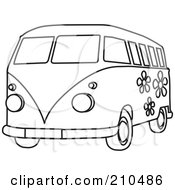 Royalty Free RF Clipart Illustration Of A Black And White Coloring Page Outline Of A Floral Hippie Bus Van by Rosie Piter