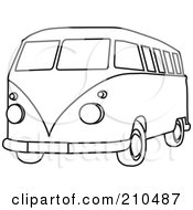 Royalty Free RF Clipart Illustration Of A Black And White Coloring Page Outline Of A Hippie Bus Van by Rosie Piter