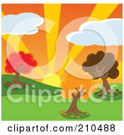 Royalty Free RF Clipart Illustration Of A Sunset Behind Trees With Autumn Foliage In A Hilly Park