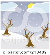 Royalty Free RF Clipart Illustration Of A Sun Hidden Behind Clouds Above Snow And Bare Trees In A Park by Rosie Piter