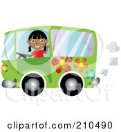 Royalty Free RF Clipart Illustration Of A Friendly Indian Woman Waving And Driving A Green Floral Hippie Bus Van