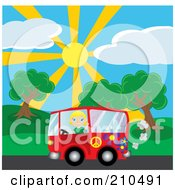 Royalty Free RF Clipart Illustration Of A Blond Girl Waving While Driving By A Park In A Red Hippie Van by Rosie Piter