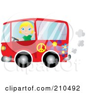Friendly Blond Woman Waving And Driving A Red Floral Hippie Bus Van