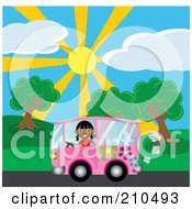 Royalty Free RF Clipart Illustration Of An Indian Girl Waving While Driving By A Park In A Purple Hippie Van by Rosie Piter