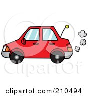 Royalty Free RF Clipart Illustration Of A Red Car With Exhaust Clouds