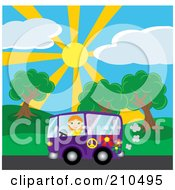 Royalty Free RF Clipart Illustration Of A Red Haired Girl Waving While Driving By A Park In A Purple Hippie Van