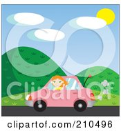 Royalty Free RF Clipart Illustration Of A Pretty Red Haired Girl Waving While Driving Past Hills In A Pink Car by Rosie Piter