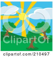 Royalty Free RF Clipart Illustration Of A Summer Sun Shining Down On A Hilly Park With Trees by Rosie Piter