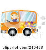 Royalty Free RF Clipart Illustration Of A Friendly Irish Woman Waving And Driving An Orange Floral Hippie Bus Van