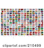 Digital Collage Of 210 Wavy 3d International Flags Of The World