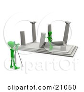 Clipart Illustration Of A Green Alien Leaning Against A Column Of Ancient Architectural Ruins Modeling For A Photographer by 3poD