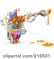 Royalty Free RF Clipart Illustration Of An Orange Man Design Mascot Jester With A Dripping Paintbrush by Leo Blanchette