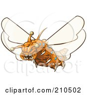 Royalty Free RF Clipart Illustration Of A Scary Orange Monster Fly With Sharp Teeth And Claws by Leo Blanchette