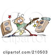 Royalty Free RF Clipart Illustration Of A Caucasian Toon Guy Rocking Out With A Guitar By Speakers