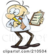 Caucasian Toon Guy Businessman Reviewing A Check List