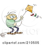 Caucasian Toon Guy Flying A Kite