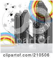 Royalty Free RF Clipart Illustration Of A Grungy Urban Background With Skyscrapers Splatters And Rainbow Circles