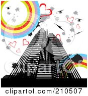 Royalty Free RF Clipart Illustration Of A Grungy Urban Background Of Skyscrapers Hearts Splatters Helicopters And Rainbow Circles