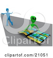 Clipart Illustration Of A Scared Blue Person Running Away From An Alien That Is Emerging From A Comic Book by 3poD