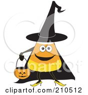 Royalty Free RF Clipart Illustration Of A Halloween Candy Corn In A Witch Costume Carrying A Pumpkin Bucket by erikalchan