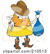 Royalty Free RF Clipart Illustration Of A Halloween Candy Corn In A Cowboy Bandit Costume by erikalchan