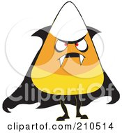 Royalty Free RF Clipart Illustration Of A Halloween Candy Corn In A Vampire Costume by erikalchan