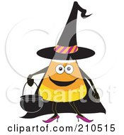 Halloween Candy Corn In A Witch Costume Carrying A Cauldron Bucket